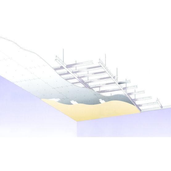 Ossature pour plafond suspendu en plaques de pl tre for Plafond suspendu en plaque de platre