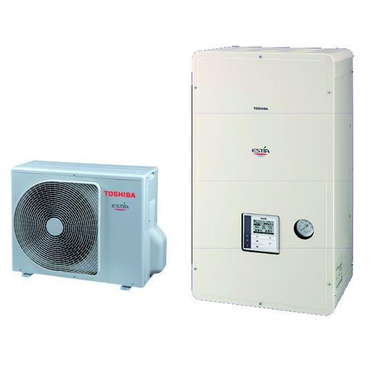 pac air eau compacte pour chauffage et production d 39 ecs estia 4 5 kw toshiba climatisation. Black Bedroom Furniture Sets. Home Design Ideas