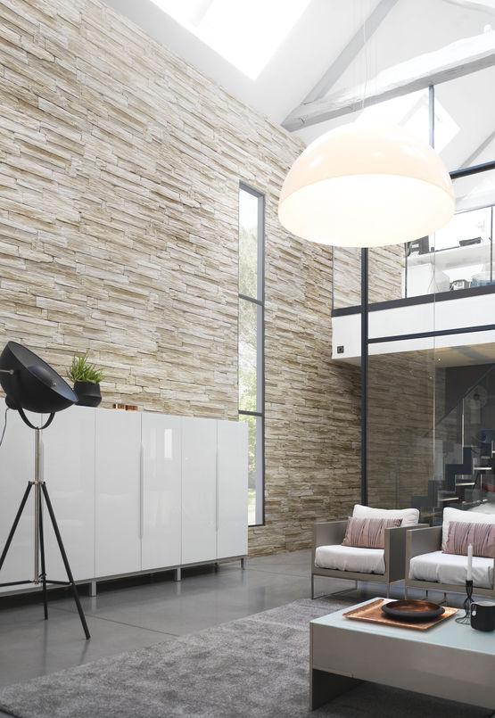 parement mural en plaque en pierre reconstitu e de texture schiste yosemite orsol. Black Bedroom Furniture Sets. Home Design Ideas