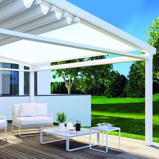pergola avec profils aluminium toile technique et technologie io a2 compact gennius france. Black Bedroom Furniture Sets. Home Design Ideas