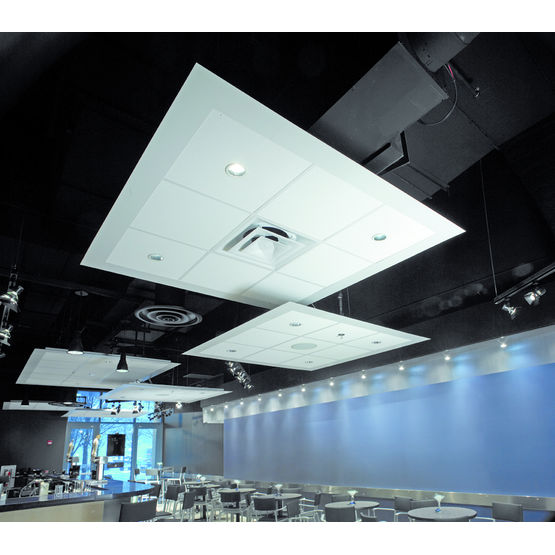 Plafond flottant acoustique axiom canopy armstrong for Materiel plafond suspendu