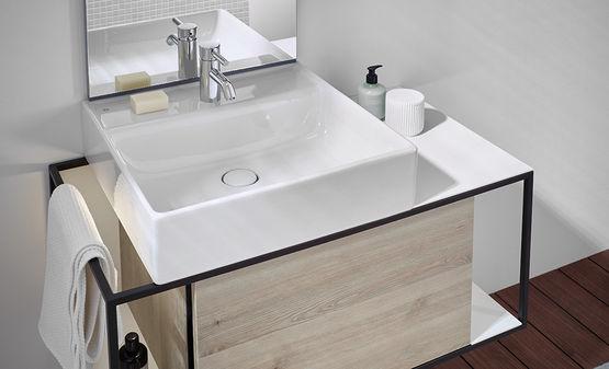 plan de toilette en pierre de synth se autor parable avec meuble sous vasque junit burgbad. Black Bedroom Furniture Sets. Home Design Ideas