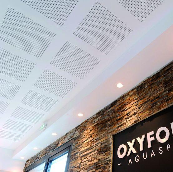 Plaque de plâtre acoustique et décorative pour plafond en milieux ...