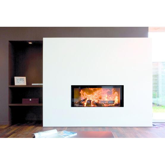 Po le chemin e bois avec habillage sur mesure luna 1150 h gold m design best fires - Poele a bois sans cheminee ...