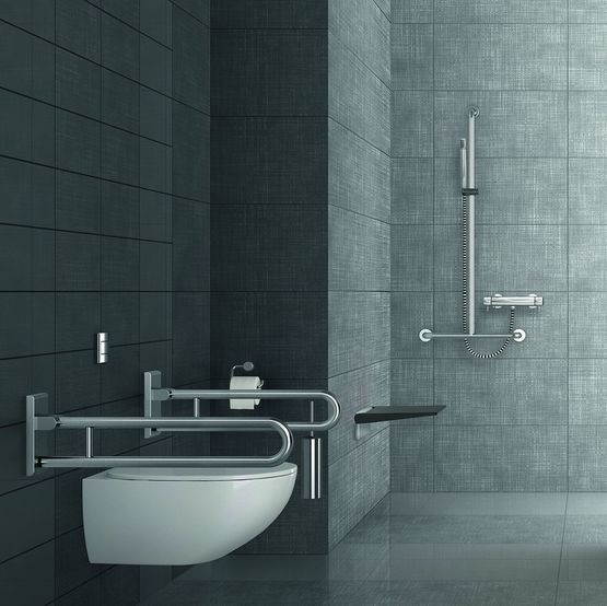 Poign es et accessoires salles de bain en inox pour pmr for Poignee de securite salle de bain
