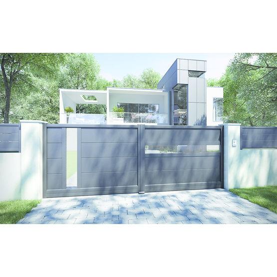 portail aluminium avec inserts tress s en inox onagre charuel. Black Bedroom Furniture Sets. Home Design Ideas