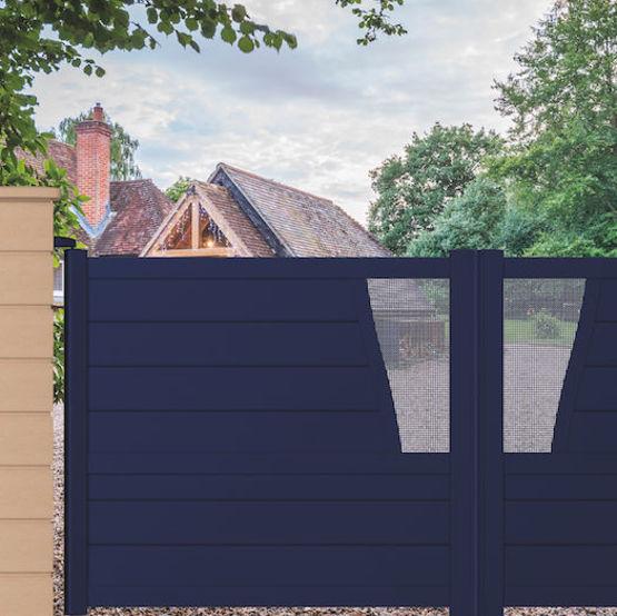 portail aluminium battant ou coulissant avec d cor. Black Bedroom Furniture Sets. Home Design Ideas