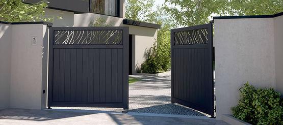 portails aluminium battants ou coulissants avec motifs d coupe laser