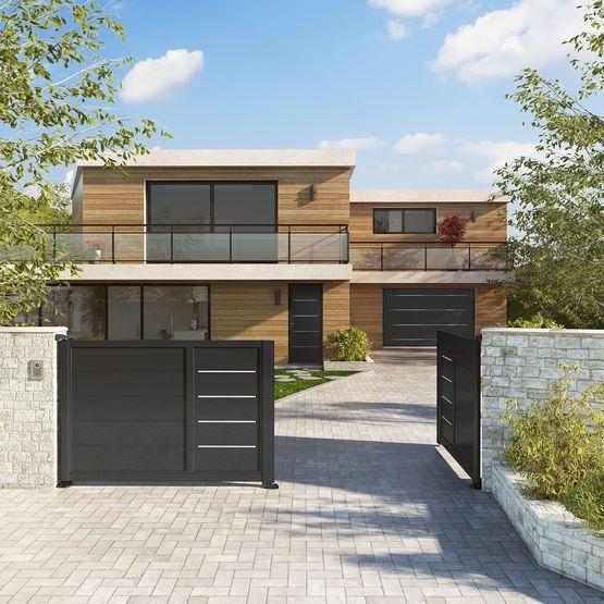 portails en aluminium battants ou coulissants akordia horizal les portaliers. Black Bedroom Furniture Sets. Home Design Ideas