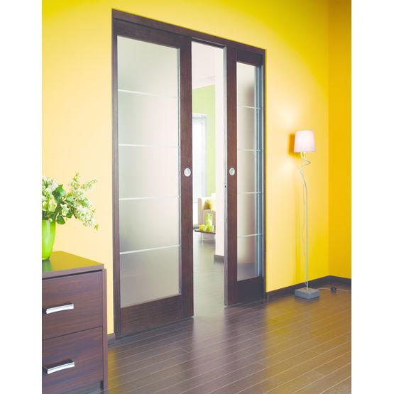Porte à cinq panneaux en bois, aluminium et verre  Lapeyre