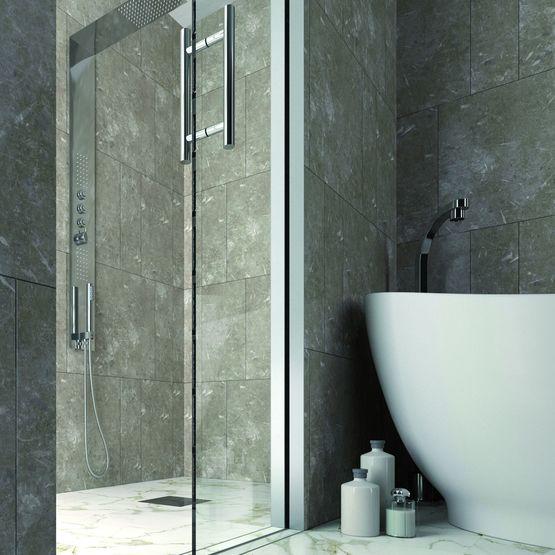 Essential douche porte coulissante galandage pour cabine de douche batiproduits - Porte coulissante a galandage ...
