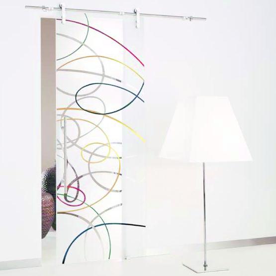 Porte coulissante en verre d cor incis color aura - Portes coulissantes en verre sur mesure ...