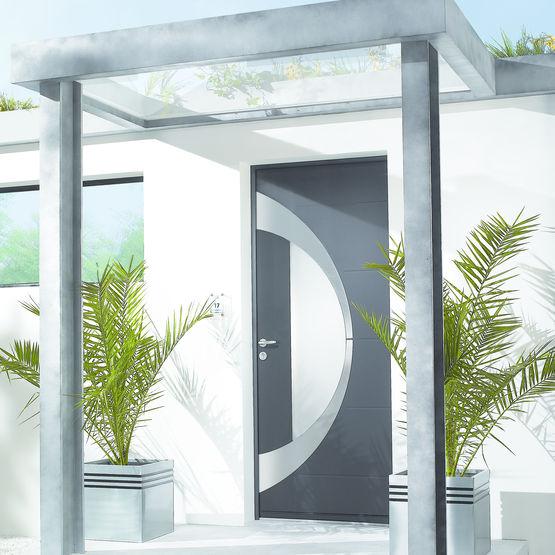 porte d 39 entr e aluminium parement ext rieur en inox bross zilten. Black Bedroom Furniture Sets. Home Design Ideas