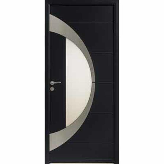 Porte d 39 entr e aluminium parement ext rieur en inox for Porte ouvrant exterieur