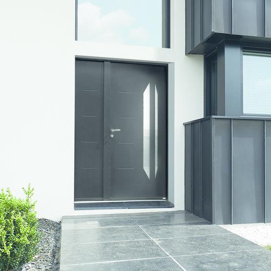Porte d 39 entr e aluminium vitrage effil int gr idra for Porte zilten