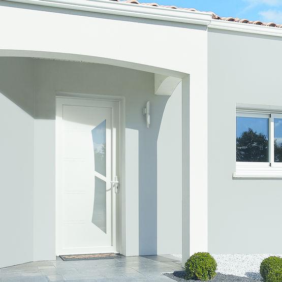 Porte Dentrée Contemporaine En PVC Milky ZILTEN - Porte d entrée contemporaine