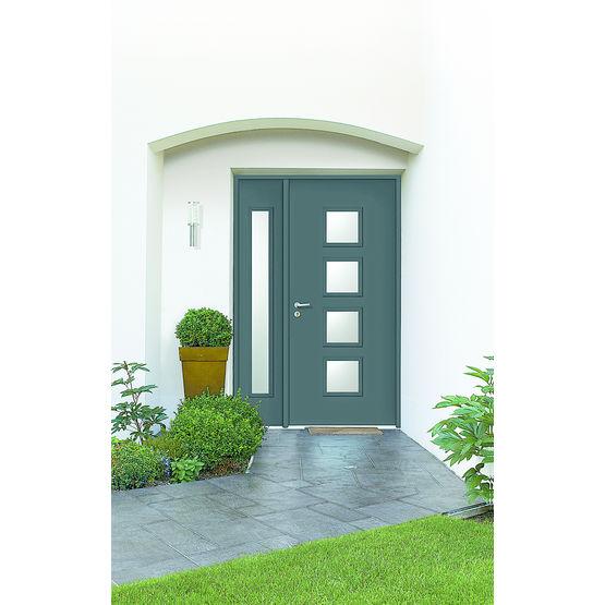 Porte d entr e en acier avec oculus vitr s hegoa portes mid - Devis porte d entree ...