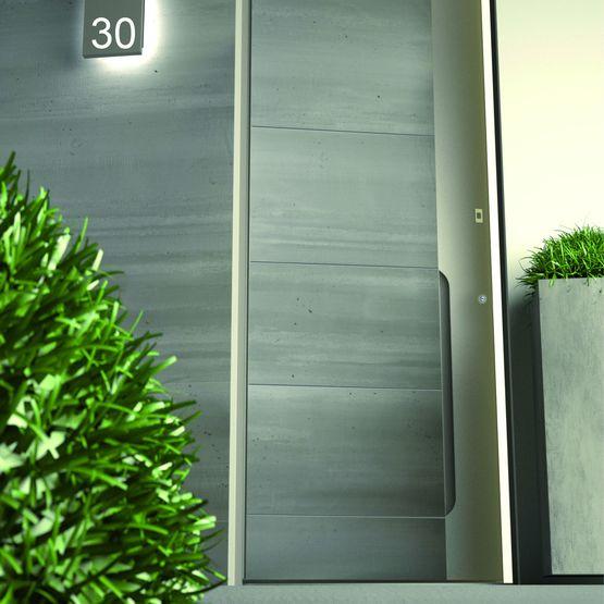 Porte d 39 entr e en aluminium parement c ramique alu 98 for Isolant porte d entree