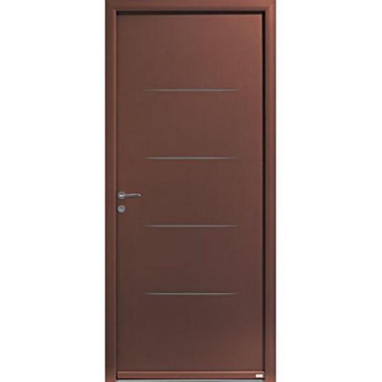 Porte d 39 entr e en aluminium avec incisions sur parements - Porte d entree zilten ...