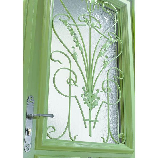 Porte d 39 entr e en bois haute performance avec partie vitr e valen ay zilten - Porte d entree en bois ...