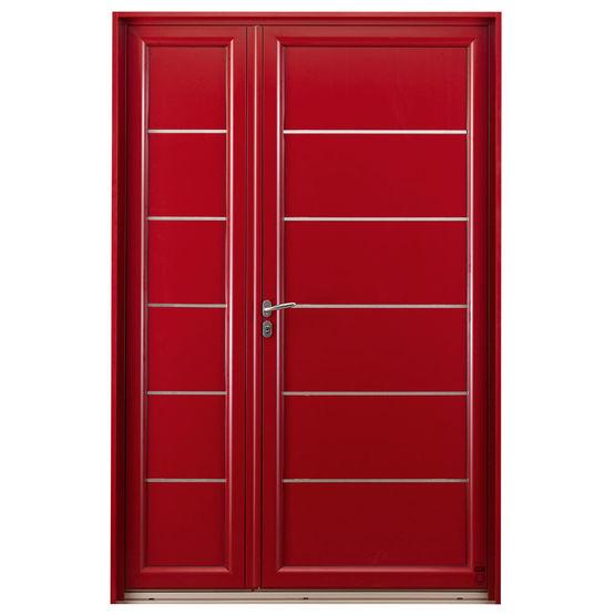 Porte du0027entrée en bois massif et aluminium avec bouclier thermique | Eridan