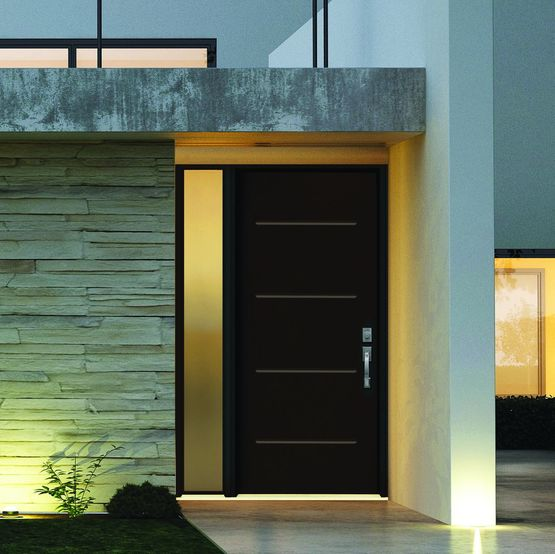 porte d 39 entr e en pvc sans sur paisseur d 39 ouvrant porte pvc steeline veka. Black Bedroom Furniture Sets. Home Design Ideas