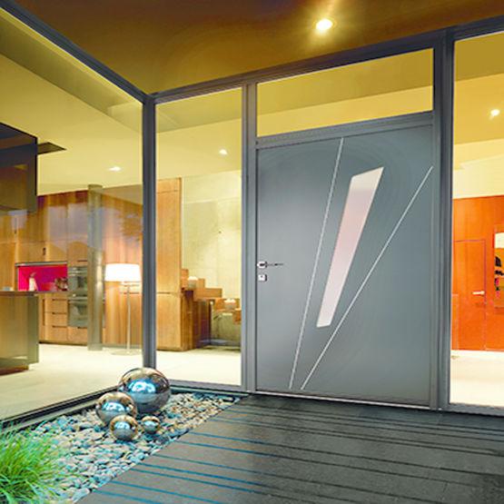 porte d 39 entr e isolante en aluminium d cor joncs k. Black Bedroom Furniture Sets. Home Design Ideas