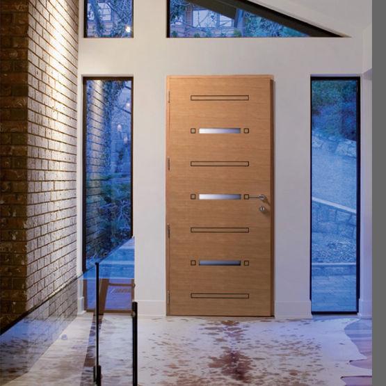 Porte d 39 entr e mixte aluminium et bois horizon mc france - Porte d entree mixte alu bois ...
