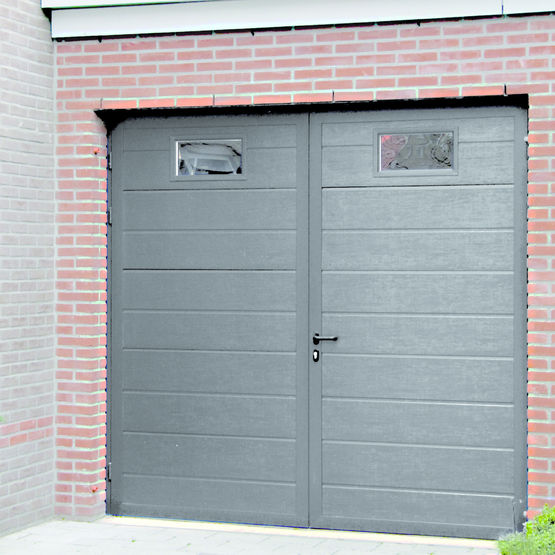 Porte de garage battante double parois duoport for Porte de garage aluminium 4 vantaux