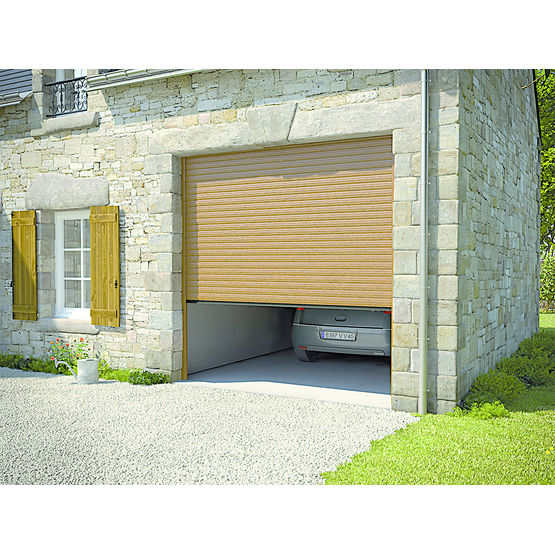Porte de garage enroulable tablier aluminium excelis for Porte de garage linteau reduit