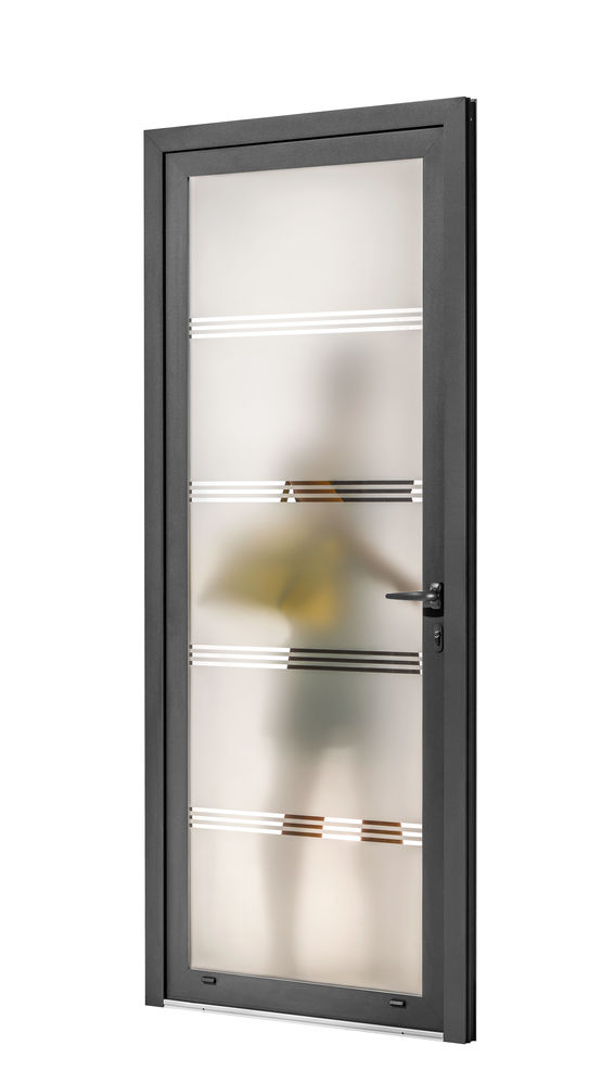 Porte en aluminium avec vitrage imprim d cors ou sabl for Porte vitree aluminium