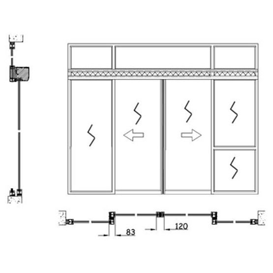 Porte vitr e automatique coulissante coupe feu 60 90 ou for Dimension standard porte coupe feu