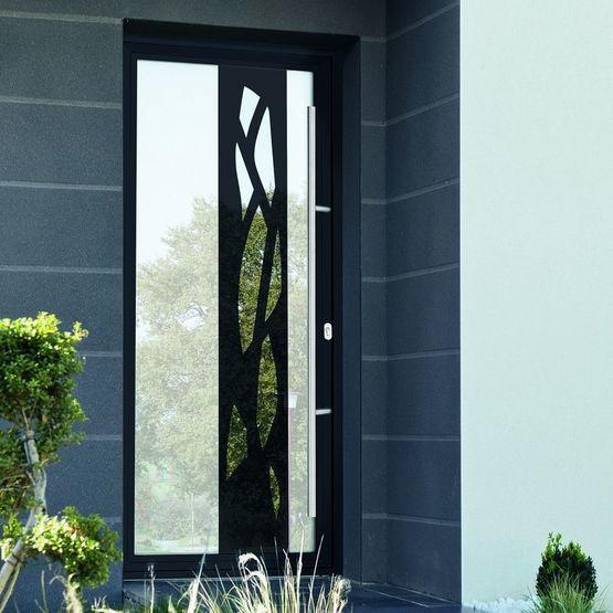 Portes d 39 entr e vitr e avec effet miroir et monoblocs avec grands d cors aluminium ou avec - Porte en aluminium vitree ...
