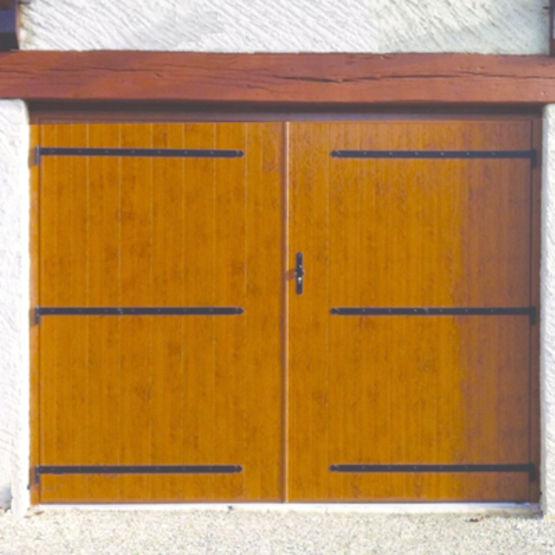 Portes de garage 2 vantaux en bois pvc ou aluminium for Porte de garage 3 vantaux bois