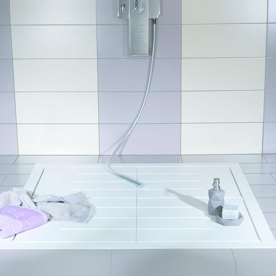 receveur de douche en corian blanc lazer. Black Bedroom Furniture Sets. Home Design Ideas