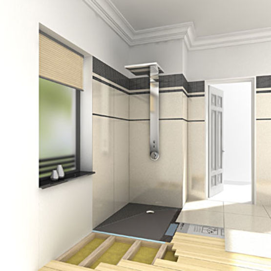 receveur de douche pour montage sur planchers bois fundo ligno wedi. Black Bedroom Furniture Sets. Home Design Ideas