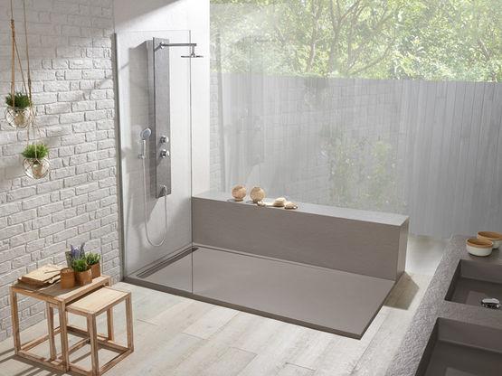 receveur sur mesure duo slate acquabella. Black Bedroom Furniture Sets. Home Design Ideas