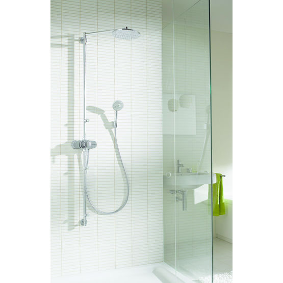 robinetterie pour douche en laiton chrom showerpipe swing hansgrohe. Black Bedroom Furniture Sets. Home Design Ideas