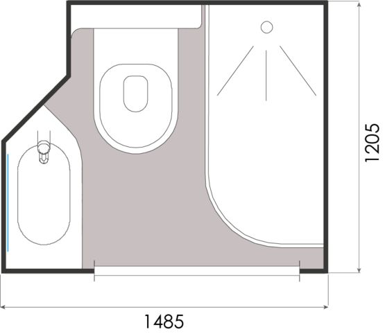 Salle De Bain Prefabriquee A Implantation Carree Grenat Gamme Baudet Intial