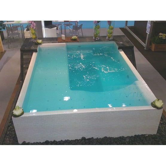 spa mosa que d bordement sur socle de galets spa horizon clair 39 azur. Black Bedroom Furniture Sets. Home Design Ideas