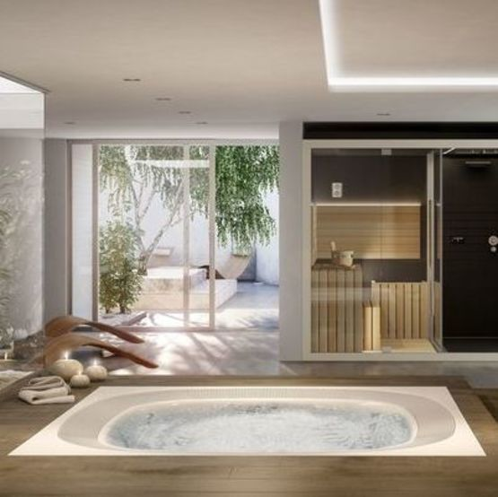 spa professionnel de grande taille avec place allong e. Black Bedroom Furniture Sets. Home Design Ideas