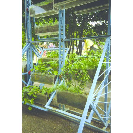 Structure Métallique Verticale À 24 Jardinières Transparentes
