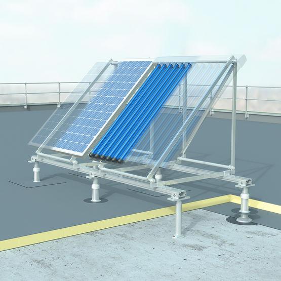 support pour panneaux solaires en toiture terrasse. Black Bedroom Furniture Sets. Home Design Ideas