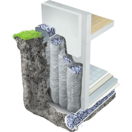 Syst me d 39 isolation pour mur enterr wall bag misapor sa for Systeme anti aboiement exterieur pour chenil