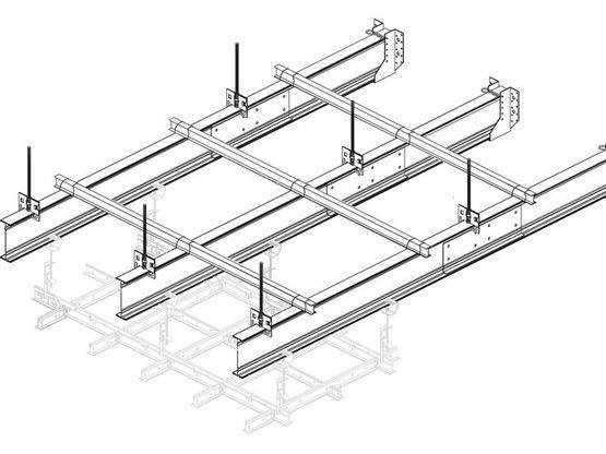 Syst me d ossature primaire longues port es knauf amf - Ossature metallique pour faux plafond ...