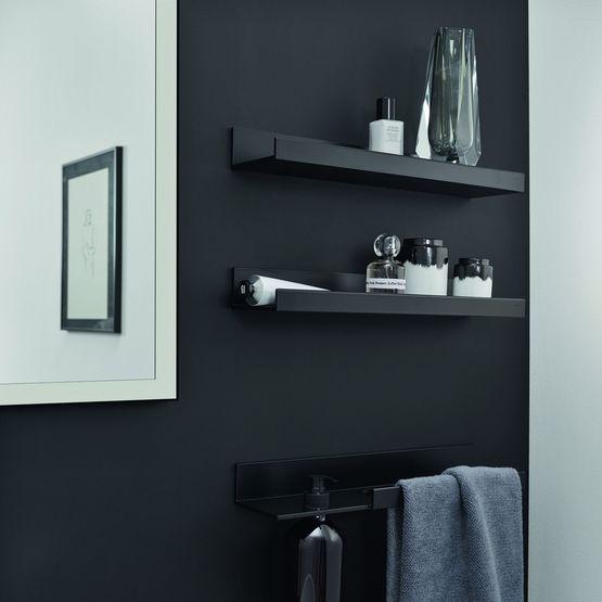 tablettes de salles de bains en aluminium noir mat pour rangement. Black Bedroom Furniture Sets. Home Design Ideas