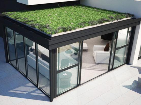 Véranda brevetée à toiture plate pour extension d'habitation   Confort²Vie - SEPALUMIC
