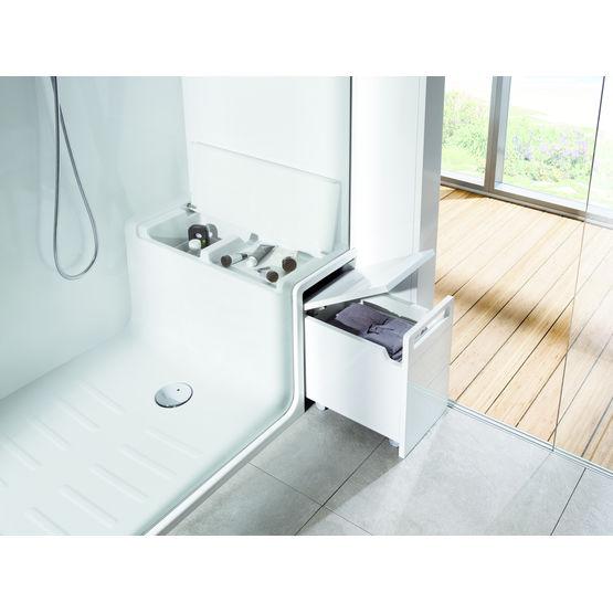 cabine de douche receveur avec banc et rangement roca division sanitaire. Black Bedroom Furniture Sets. Home Design Ideas