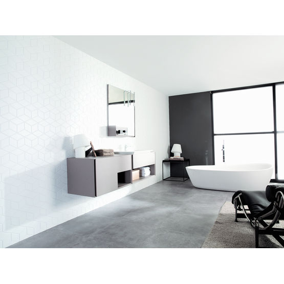 carreaux de salle de bain motifs cubiques blanc mat porcelanosa. Black Bedroom Furniture Sets. Home Design Ideas