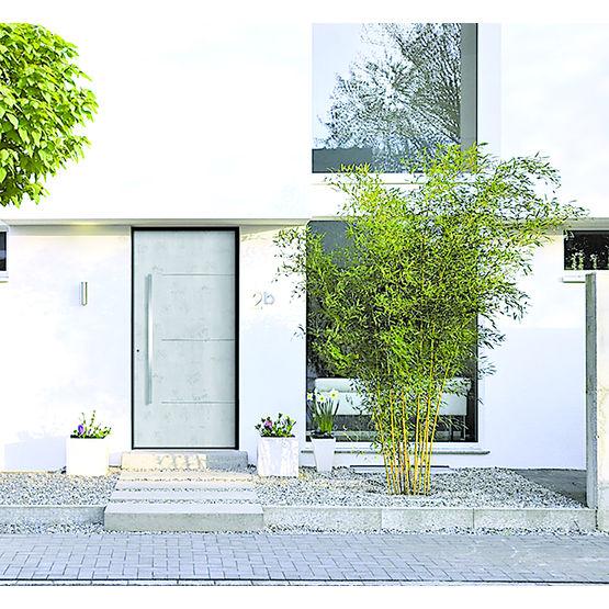 Porte d entr e aluminium parement aspect b ton for Revetement porte d entree